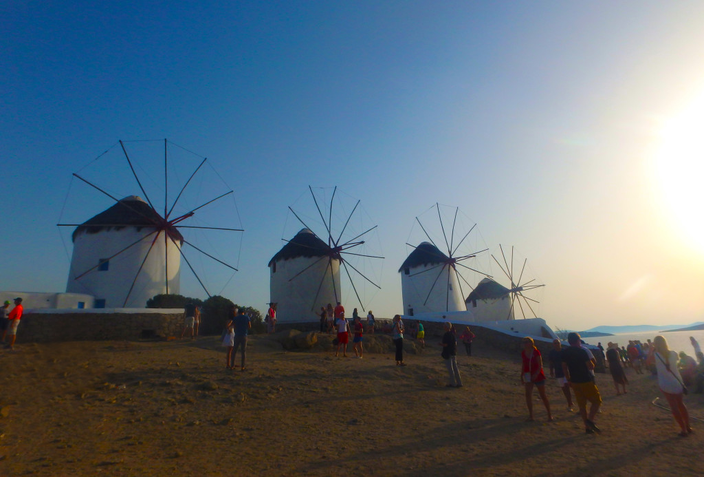 Mykonos-town-four-windmills-greece-time-travel-blonde