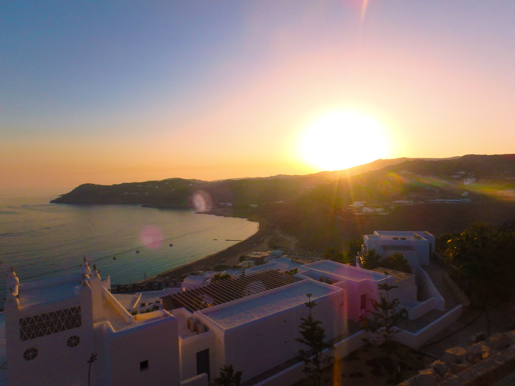 Elia Beach - Utopia view - Mykonos Greece - time travel blonde