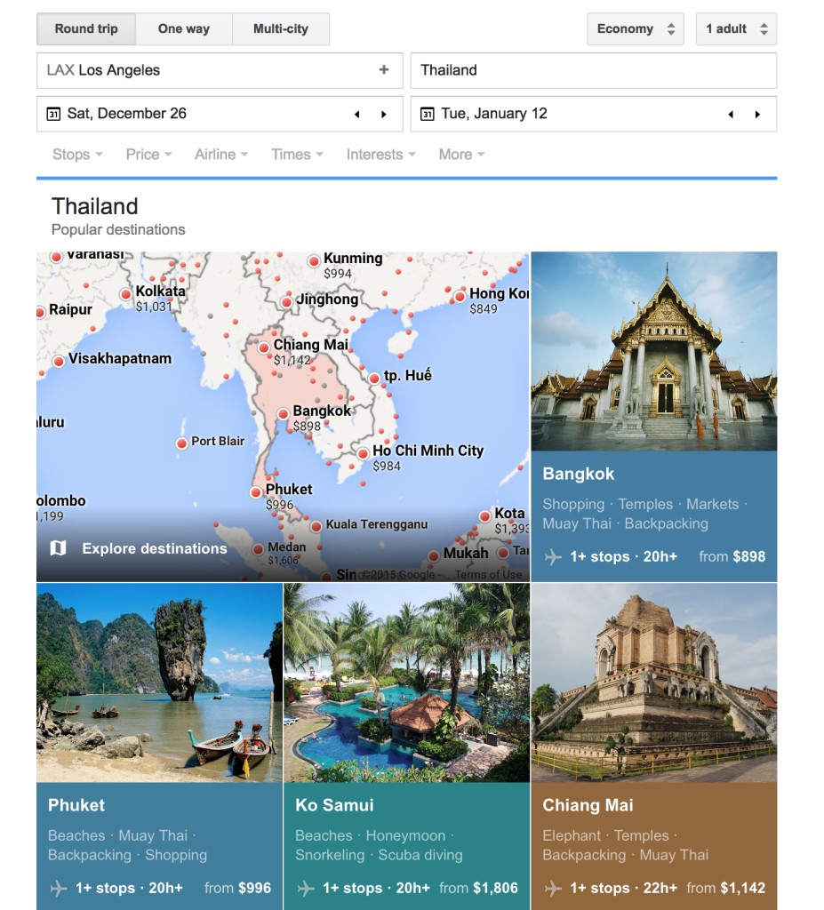 Google Flights 1st Step Booking Planning Travel Cheap Thailand