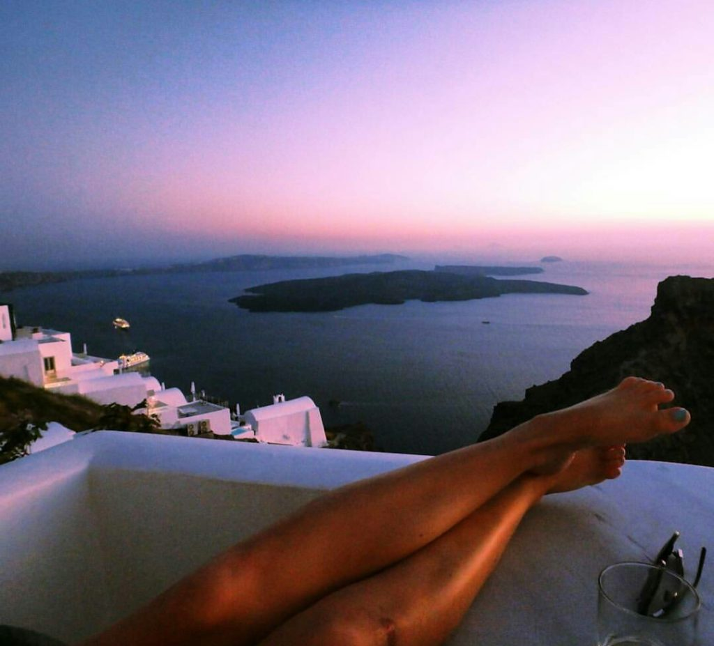 santorini on a budget sunset